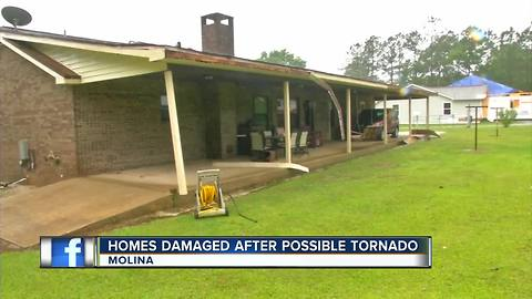 Possible tornado damages homes in Escambia County