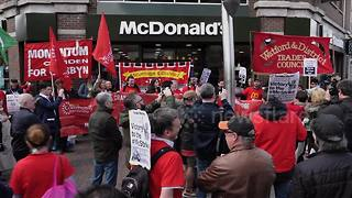 McDonald's workers strike for a £10-an-hour living wage