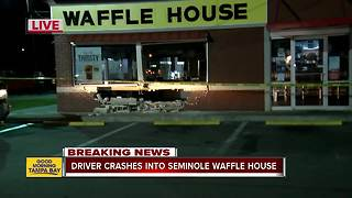 Suspected drunk driver crashes into Waffle House restaurant in Seminole - Video
