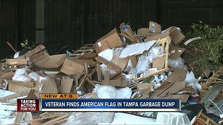 Veteran finds American flag at city garbage dump - Video
