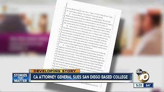 CA Attorney General sues San diego based online college - Video