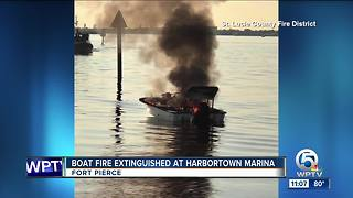 Boat fire extinguished in Fort Pierce - Video