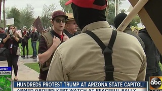 Hundreds protest President Trump at Arizona Capitol - Video