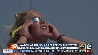 Nearly 100 people watch solar eclipse aboard sailboat on Chesapeake Bay - Video