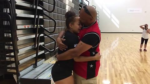 Dad comes home after 16 months overseas, surprises daughter at school