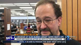 Librarian at Glen Burnie Library saves man's life - Video