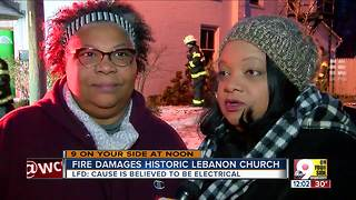 Firefighters battle bitter cold, flames at historic Lebanon church - Video