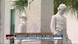Community leaders push to remove confederate memorial - Video