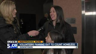 Volunteers count homeless population in San Diego - Video