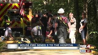 House Fire Sends 3 to the Hospital - Video