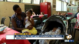 Bill hopes to get more students free meals - Video