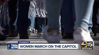 Women march on the capitol in Phoenix - Video