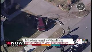 Police chase ends in crash near 45th and Paseo - Video