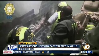 Crews rescue newborn baby trapped in walls