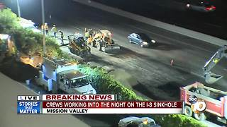 Crews working into the night on I-8 sinkhole - Video