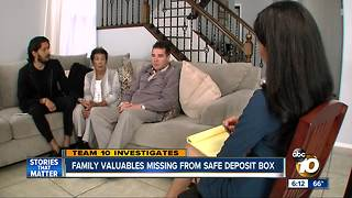 Family valuables missing from safe deposit box - Video