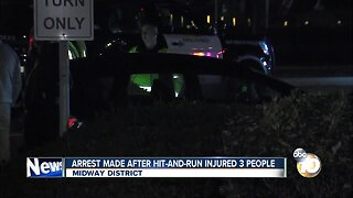 Driver arrested in hit and run that injured three