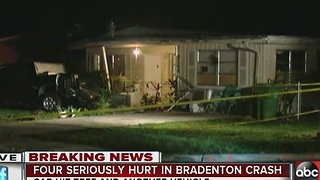 Car crashes into tree, bursts into flames in front of Bradenton home, four transported to hospital - Video