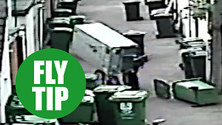 CCTV shows man fly-tipping huge fridge - Video