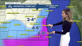 Snow moves in Saturday midafternoon continues into Sunday
