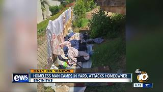 Homeless man camps in yard, attacks homeowner - Video