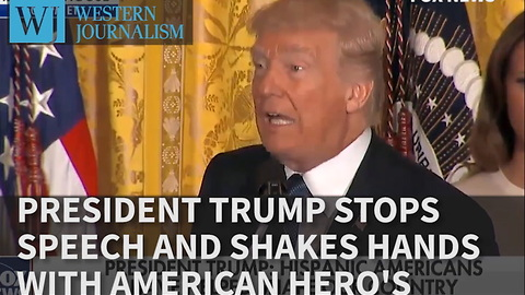 President Trump Stops Speech And Shakes Hands With American Hero's