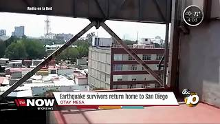 Earthquake survivors return home from San Diego - Video