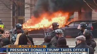 Dozens arrested after protests turn violent - Video