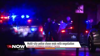 Man leads police on hour-long chase through 9 cities followed by two hour standoff - Video