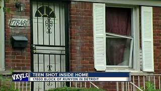 Teenager shot in Detroit home - Video