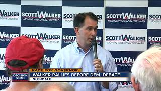 Gov. Walker addresses supporters ahead of democratic gubernatorial debate - Video