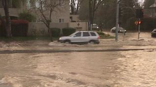 Fresno Intersection Flooded by Rainstorm