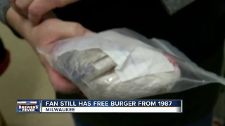Fan holds on to free George Webb burger from 1987 - Video