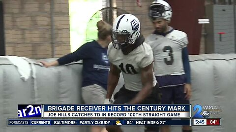 He's no ordinary Joe. Brigade receiver sets record with TD in 100th straight game.