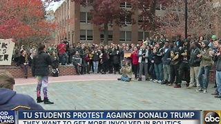 Towson University students protest Donald Trump