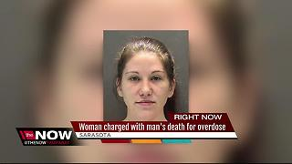 Woman charged with man's death for overdose - Video