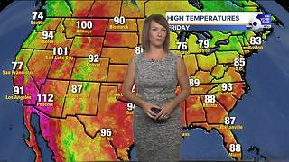 Scorching heat backs off a bit Friday, but sizzling temps return next week - Video