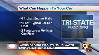 Avoid driving into standing water