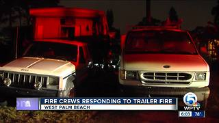 Mobile home destroyed by fire near West Palm Beach - Video