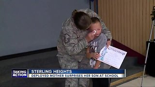 Deployed mother surprises son at Sterling Heights school