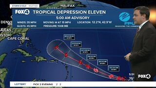 Tropical Depression 11 is expected to strengthen into Tropical Storm Josephine later today