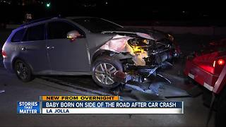 Baby born on side of road after crash - Video