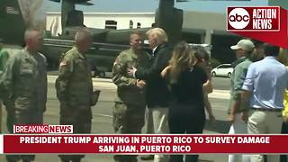 President Trump arrives in Puerto Rico following Hurricane Maria - Video