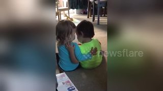 Adorable 2 year old comforts her twin brother - Video