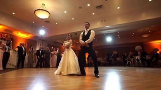 Bride And Groom Entertain Guests With Various Dance Techniques - Video