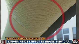 Driver find defect in brand new car - Video