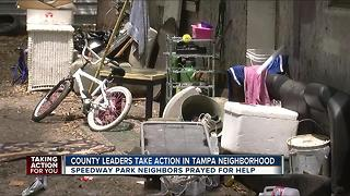 County leaders take action after residents of Speedway Park plea for help - Video