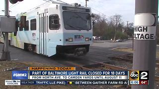 Part of Baltimore Light Rail closed for 18 days - Video