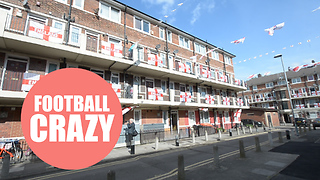 London street is urging on the England team in the World Cup with display of the national flag
