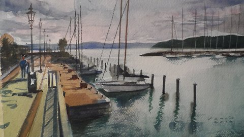Harbour Balatonfured watercolor painting